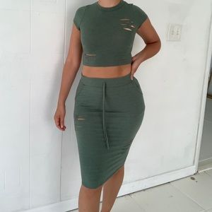 Two Piece Crop Top + Skirt Olive Green